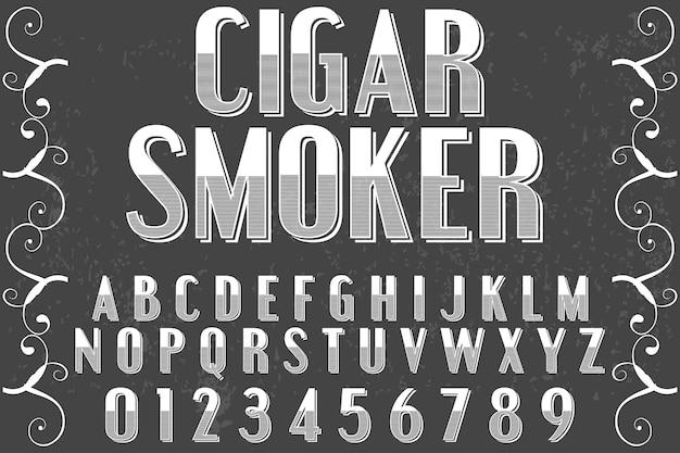 Cigarro de estilo gráfico alfabeto vintage Vector Premium