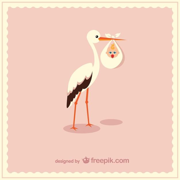 Cigüeña con bebé | Descargar Vectores gratis