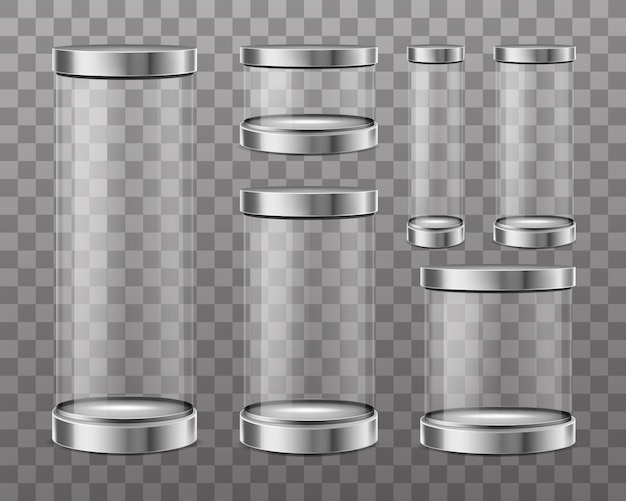 Cilindros de vidrio transparente vector gratuito
