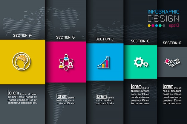 Cinco etiquetas con infografías de iconos de negocios. Vector Premium