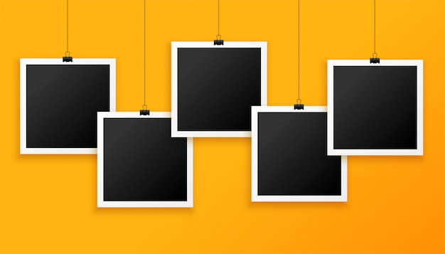Cinco marcos de fotos colgantes sobre fondo amarillo vector gratuito