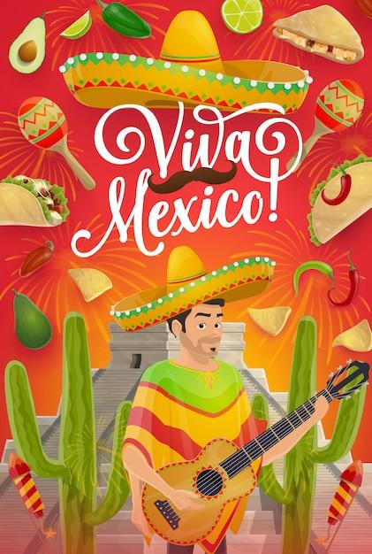 Cinco de mayo holiday guitar, sombrero y cactus Vector Premium