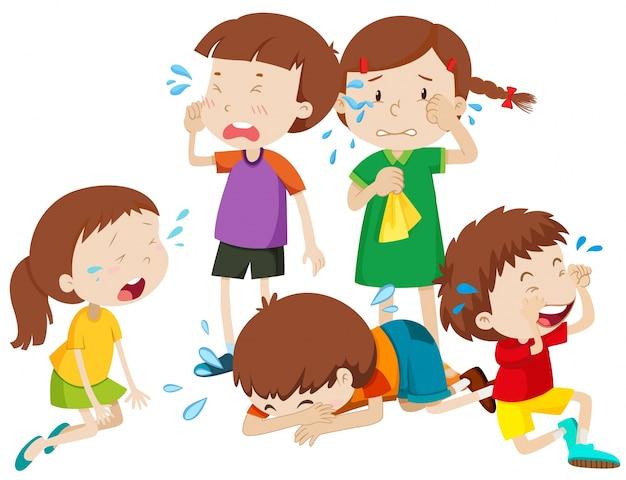 Cinco niños llorando con lágrimas ilustración vector gratuito