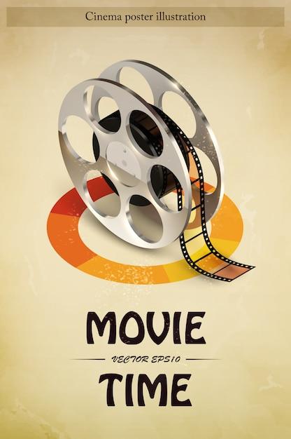 Cine cine cartel de entretenimiento. vector gratuito