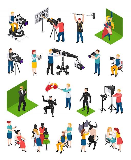 Cinematografía isométrica personas videógrafos con videocámaras actores director iluminador aparador y decorador aislado vector gratuito