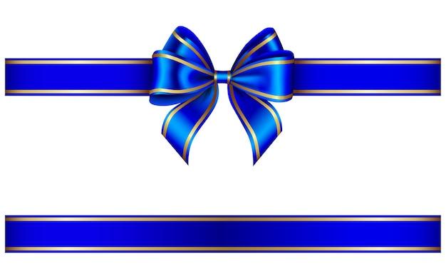 Cinta azul y lazo con ribete dorado Vector Premium