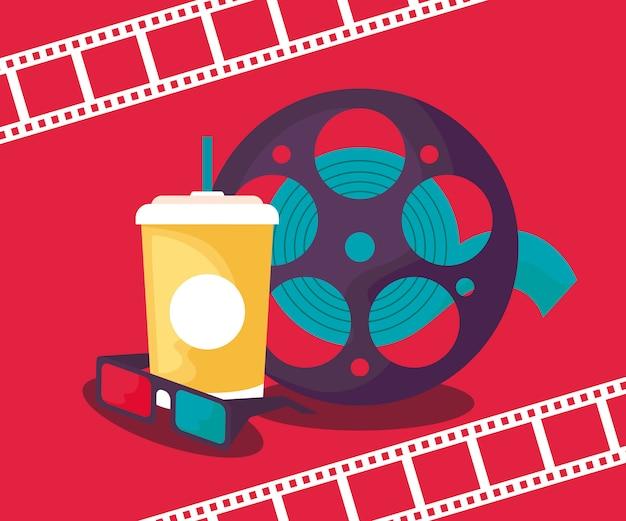 Cinta de carrete de cine con bebida y anteojos Vector Premium
