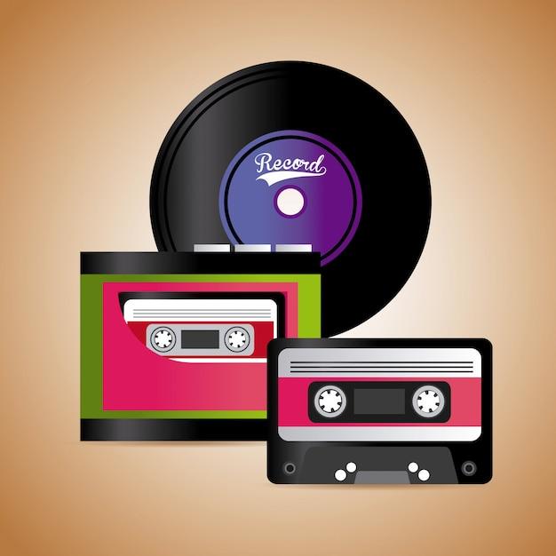 Cinta de cassette de música y diseño gráfico de vinilo vector gratuito