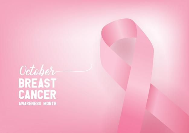 Cinta del conocimiento del cáncer de mama. concepto del día mundial del cáncer de mama. Vector Premium