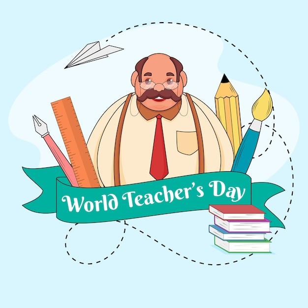 Cinta del día mundial del maestro con elementos de material escolar y personaje de dibujos animados sobre fondo azul. Vector Premium