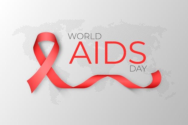 Cinta del día mundial del sida realista en el fondo del mapa de la tierra Vector Premium