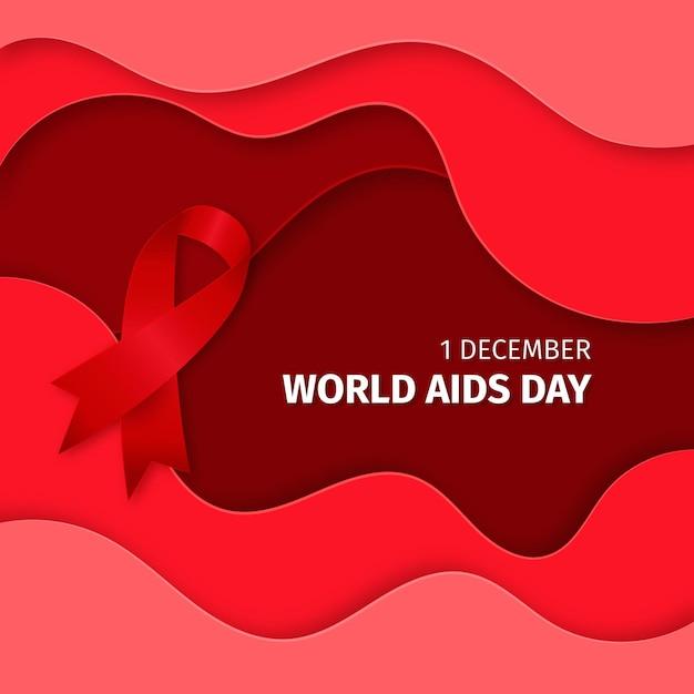 Cinta del día mundial del sida sobre fondo ondulado en estilo papel vector gratuito