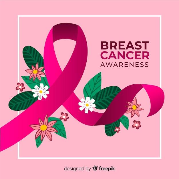 Cinta dibujada a mano para el día del cáncer de mama vector gratuito