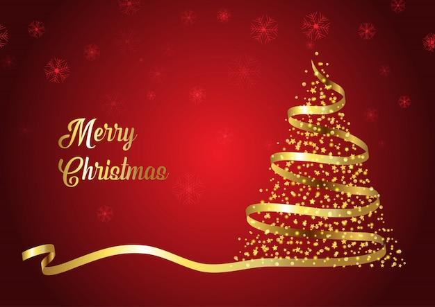 Cinta dorada diseño árbol de navidad vector gratuito