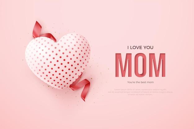 Cinta y globo rojo 3d del día de la madre. Vector Premium