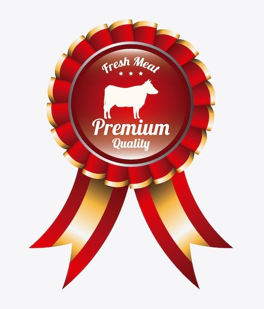 Cinta de logo de carne fresca vector gratuito