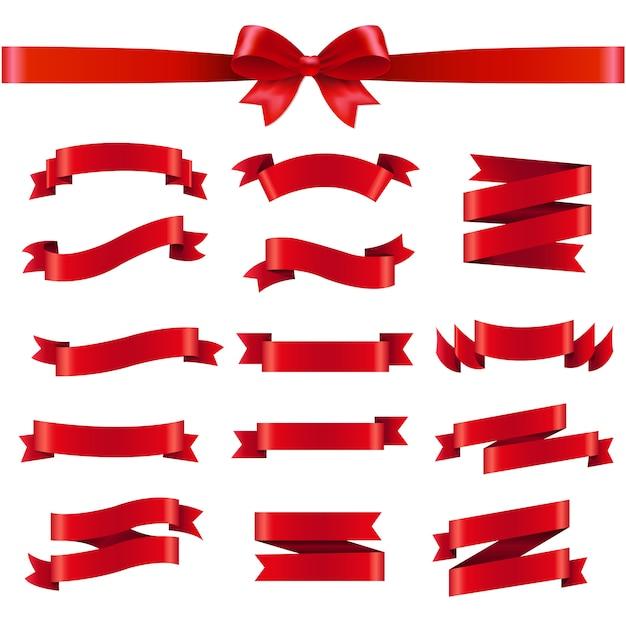 Cinta roja y arco sobre fondo blanco Vector Premium
