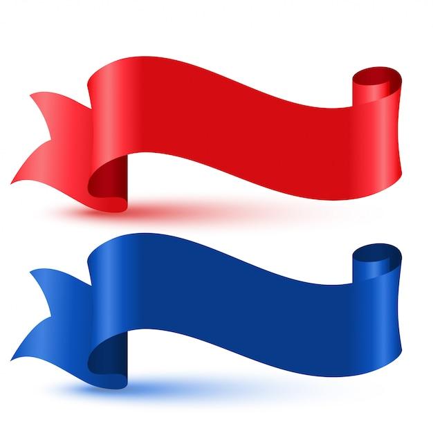 Cinta roja y azul bandera 3d vector gratuito