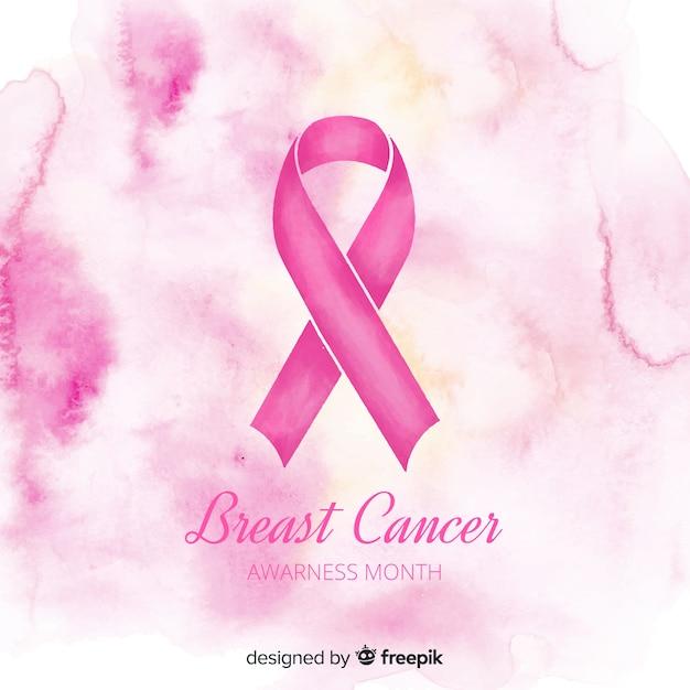 Cinta rosa acuarela para símbolo de conciencia de cáncer de mama vector gratuito