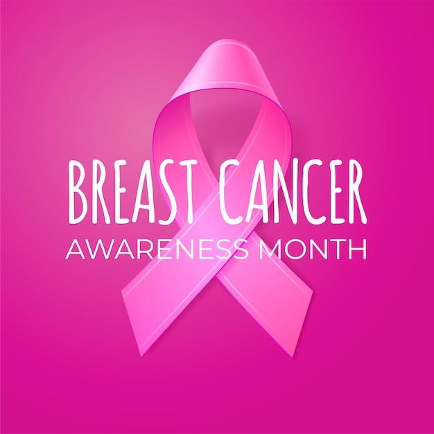 Cinta rosa realista sobre fondo rosa. plantilla para banner, cartel, invitación, flyer. tipografía del mes de concientización sobre el cáncer de mama. ilustración. Vector Premium
