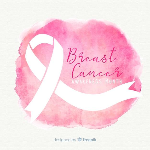 Cinta rosada de concientización sobre el cáncer de mama en un estilo acuarela vector gratuito