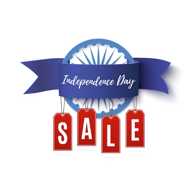 Cinta de venta del día de la independencia de la india con etiquetas de precios aisladas sobre fondo blanco. Vector Premium
