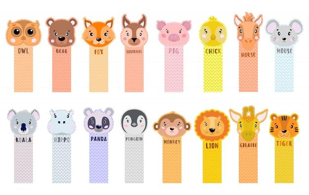 Las cintas adhesivas de papel se pelan desde la esquina con animales para niños. Vector Premium