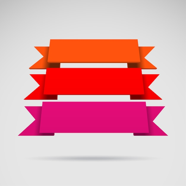 Cintas de colores 3d vector de infografía Vector Premium