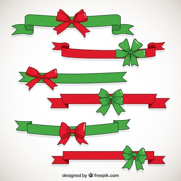 Cintas de navidad con lazos descargar vectores gratis for Cintas de navidad