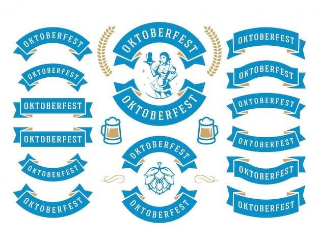 Cintas y objetos del festival de la cerveza de la celebración del oktoberfest establecen ilustración vectorial Vector Premium