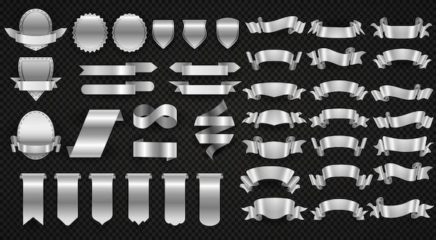 Cintas de plata y acero, juego de banners de envoltura metálica. Vector Premium