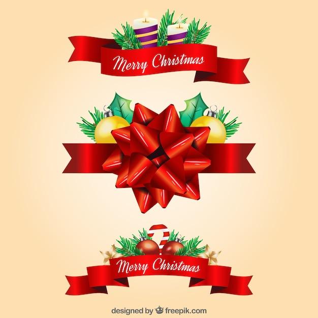 Cintas rojas decorativas de navidad descargar vectores for Cintas de navidad
