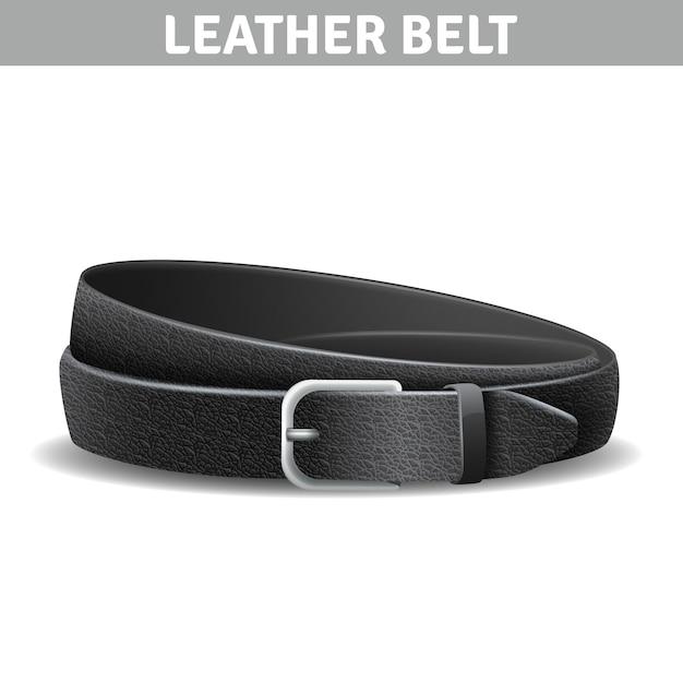 Cinturón de cuero rizado realista negro con hebilla de metal vector gratuito