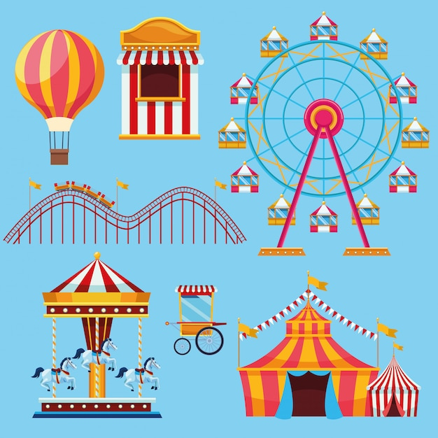 Circo y festival conjunto de iconos de dibujos animados vector gratuito