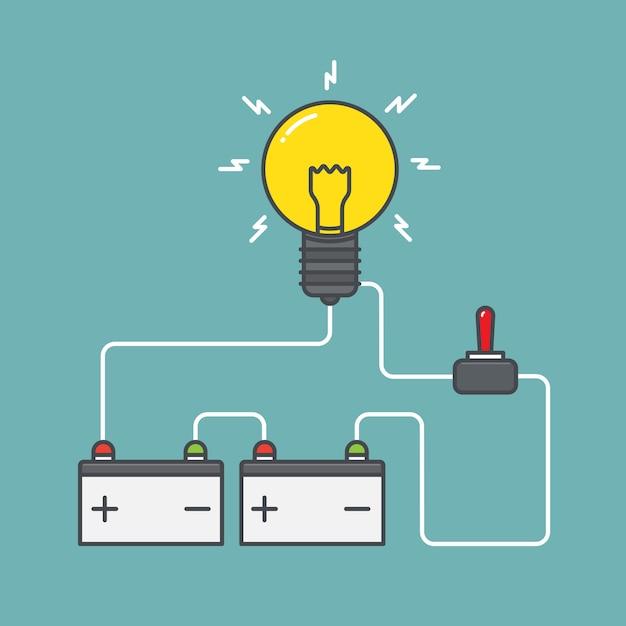 Circuito de batería con interruptor de encendido ilustración plana Vector Premium