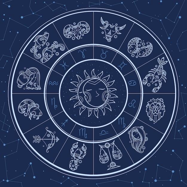 Círculo de astrología. infografía mágica con símbolos del zodiaco horóscopos geminis rueda pez gemini aries león plantilla Vector Premium