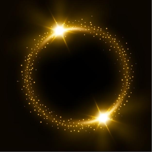 Círculo brillante de oro con ráfagas de luz Vector Premium