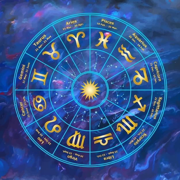 Círculo de color con signos de la ilustración del zodíaco. Vector Premium