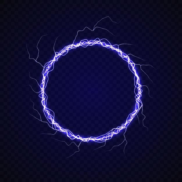 Círculo eléctrico con efecto rayo. Vector Premium