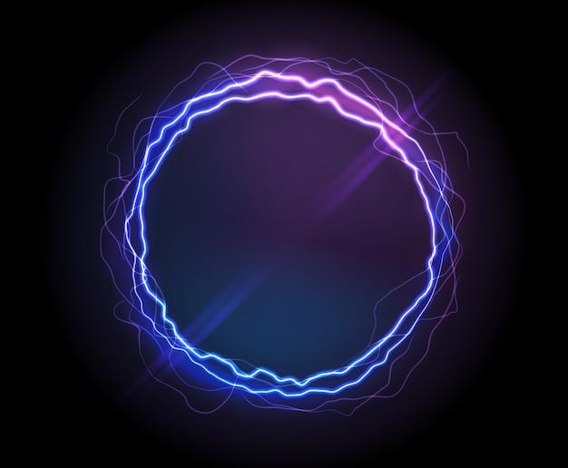 Círculo eléctrico realista o ronda de plasma abstracta. vector gratuito