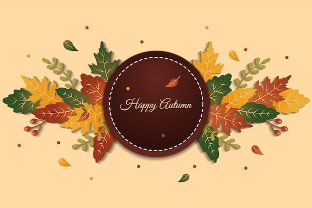 Círculo de elegante fondo de saludo feliz otoño con hojas de colores Vector Premium