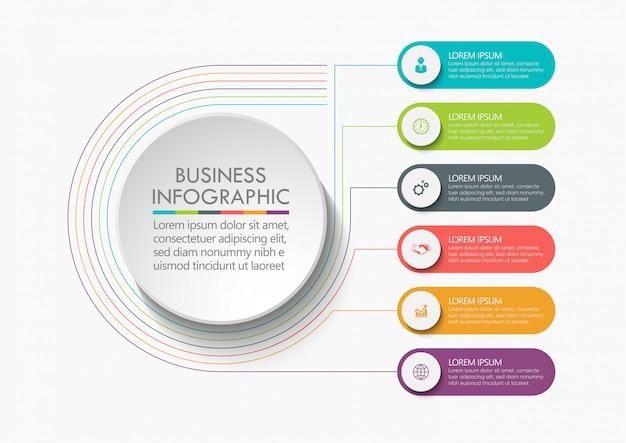 Círculo empresarial. diseño de iconos de infografía línea de tiempo Vector Premium