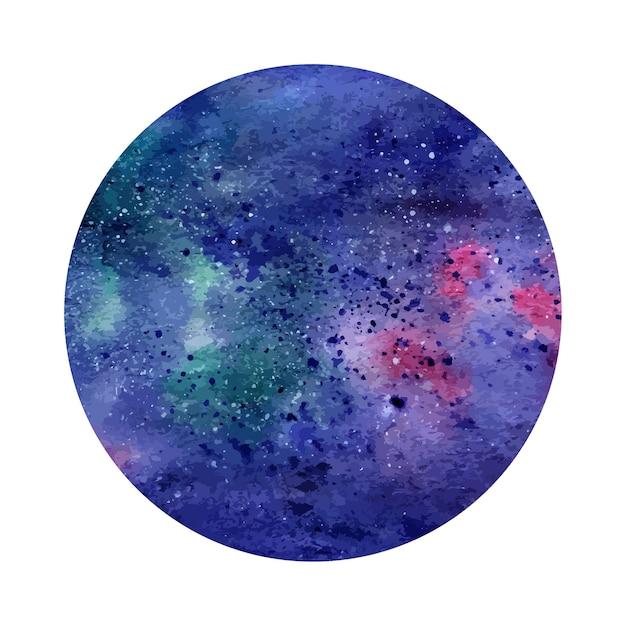 Círculo de espacio abstracto de acuarela. fondo cósmico puede ser ...