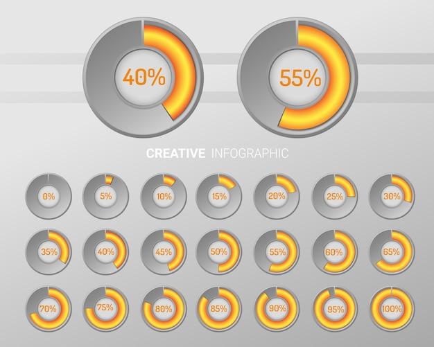 Círculo de gráfico de elementos de infografía con indicación de porcentajes. Vector Premium