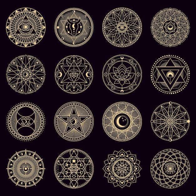 Círculo de hechizos misteriosos. emblemas circulares de brujería de alquimia mística dorada, signos de geometría oculta, conjunto de iconos de ilustración mágica de círculo. adorno místico espiritual, astrología y brujería. Vector Premium