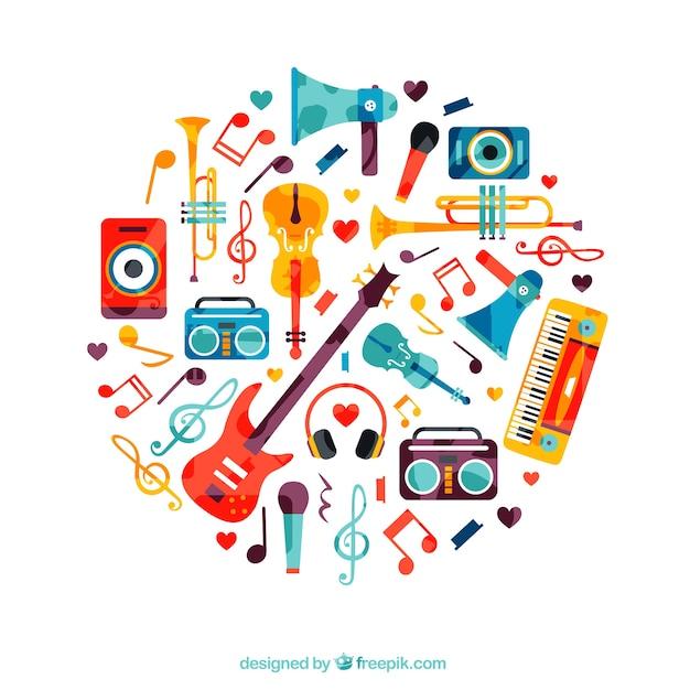 Círculo hecho de instrumentos musicales Vector Premium