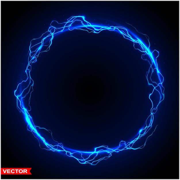 Círculo mágico realista de relámpagos de tormenta Vector Premium