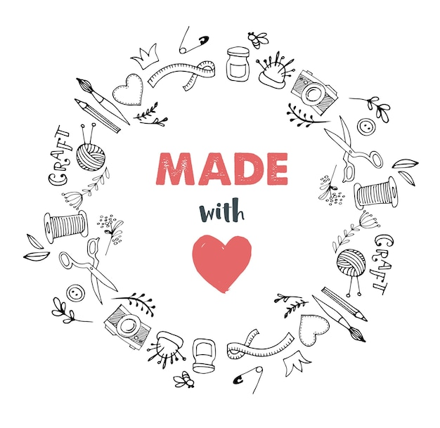 Círculo de taller artesanal hecho a mano. hecho con amor Vector Premium