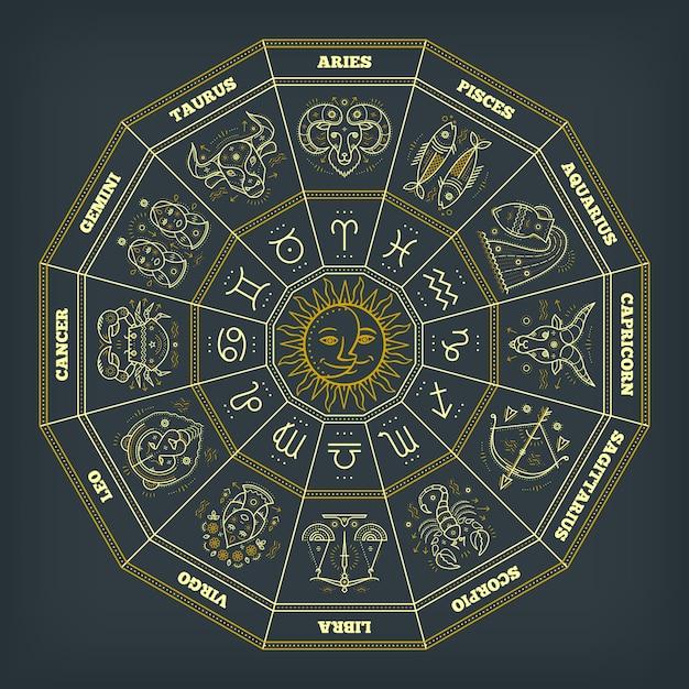 Círculo del zodiaco con signos del horóscopo. linea fina . símbolos astrológicos y signos místicos. Vector Premium