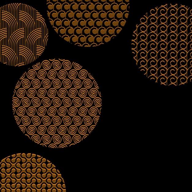 Círculos dorados con diferentes patrones en negro con máscara de recorte Vector Premium